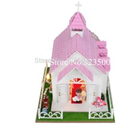 Wholesale Miniatures Diy - DIY Doll House Church Wedding in Roma,Wooden Toys for Kids Dollhouse Miniature with Furniture and LED Lights,Novelty Gift