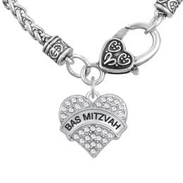Wholesale Ba Jewelry - Myshape Woman Engrave Letter BAS MITZVAH Pendant Necklaces & Bracelet & Earrings & Pendant Charms Jewelry Rhodium Plated Crystal Pendant
