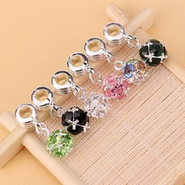 Wholesale European Bracelet Rhinestone Dangle Beads - Wholesale 100pcs 6 Colors PANDORA Crystal Rhinestone Ball Dangle Bead Fit Charm European Bracelet DIY Jewelry