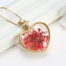Wholesale Scented Crystals - 2016 New Plants Dried Flower Locket Pendant Necklace Aromatic Scent Bottle Golden Love Heart Crystal Pendant Pressed Flower Long Necklace