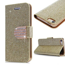 Wholesale Magnetic Cover S4 - Leather Flip Case for Samsung Galaxy S4 5 6 Edge Note 3 4 Iphone 4S 5S 6S Plus Fashion Glitter Bling Rhinstone Magnetic Buckle Wallet Cover