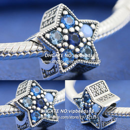 Wholesale Glass Coins - New 2017 Winter S925 Sterling Silver Bright Stars CZ Charm beads For Pandora charm Bracelets Beads & Jewelry Making