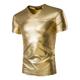 Wholesale Gold Metallic Shorts - Wholesale-Mens Trend Night Club Coated Metallic Gold Silver T-Shirts Stylish Shiny Short Sleeves Tshirts Tees For Men
