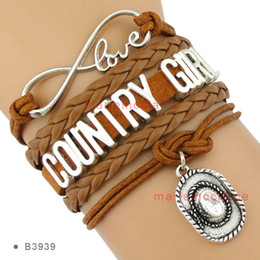 Wholesale Wholesale Infinity Leather - Infinity Love Country Girl Charm Cowboys Hat Pendant Bracelets Wrap Leather Wax Bracelets Women Fashion Gift Custom Design Drop shipping