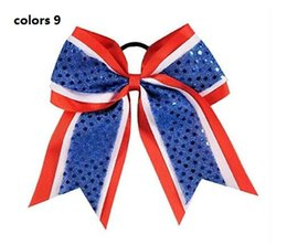 Wholesale Kids Ties For Sale - HOT SALE Sequin Cheer Bow School Color 8INCH Hair Bow with Elastic Hair Tie ponytail holder for teens girls kids 10pcs