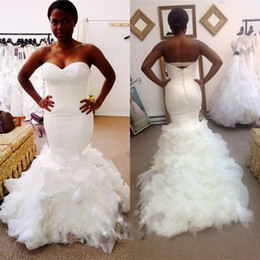 Wholesale Iron Floor - 2017 New Plus size Nigerian Mermaid wedding dresses online wdding gowns ruffles train iron Sheath wedding gowns For bride dress vestidos