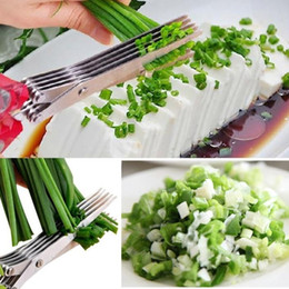 Wholesale Knife Sushi Steel - Stainless Steel 5 Layer Kitchen Scissors Kitchen Knives Sushi Shredded Scallion Cut Herb Scissors Spices Scissors