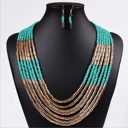 Wholesale Tin Suit - New arrive High quality Summer jewerly major suit jewelry Bohemia style hand woven multilayered Beads Necklace   sets of chain