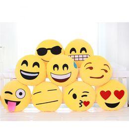 Wholesale Round Throw Pillows - Wholesale- New Mini Cute Smile Emoji Pillow Emoticon Cushion Pillow Doll Toy Throw Yellow Pillow Round Shape Cushion 10x10cm 30x30cm 2C