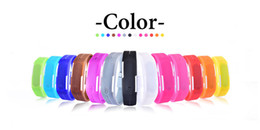 Wholesale Jelly Touch Wrist Watch - Sports Rectangle LED Digital Display Touch Screen Watches Rubber Belt Silicone Bracelets Wrist Watches Jelly Electronic Bracelet Watches