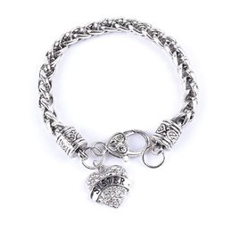 Wholesale Silver Thank Charms - Wholesale- New Simple Bracelets Women Mom Letters Bracelet Silver Crystal Rhinestone Heart Charm Bracelet Thanks Giving For Mother Gift