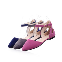 Wholesale Ladies Larger Size - Ladies European and American Style Larger size(4-12) Flock Nubuck leather Pointed toe cover heels Flat Buckle strap Women Pumps Schoenen