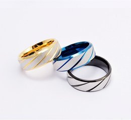 Wholesale Titanium Band Ring Blue - Hot Fashion 316L Stainless Steel Rings Blue Gold Black Striped Men's Titanium steel Band ornaments Wholesale