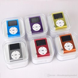 Wholesale Crystal Music Boxes - Digital Music Player MINI Clip MP3 Music Player With Screen High Qulity with USB Cable Earphone and Crystal Box