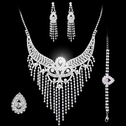 Wholesale Pierced Earring Chain - Bridal jewelry sets Earrings Necklace rings bracelet Accessories one set include four pcs luxury fashion new style hot sell HT125