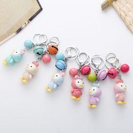 Wholesale Korean Cartoon Ring - LOVE Korean Princess Chick Bells Car Key Chain Bag Pendant Key Ring Keyrings Bag Pendant Wholesale Faimly Gifts D275L