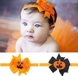 Wholesale Pumpkin Ornaments - Baby Girl Hair ornaments Pumpkin Bow Halloween Headbands Girl Fashion Headwear Baby Accessories WS002