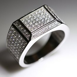 Wholesale Accessories Designs - Full Diamond Hiphop Rings For Men Top Qualtiy Silver Plated Luxury Jewelry Brand Design Fashion Accessories Wholesale