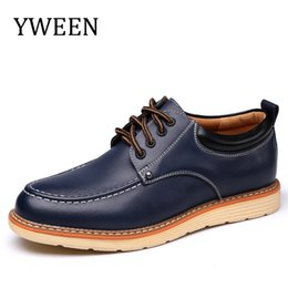 Wholesale Trend Leather Casual Shoes - Man Casual Shoes Spring Autumn Lace Up Style Pu Leather Fashion Trend Flats Rubber Low heeled Men Business Shoe