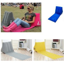 Wholesale Inflatable Beach Pad - 6 Colors New Inflatable Garden Lawn Pad Beach Mat Outdoor PVC Flocking Triangle Inflatable Pillow Cushions Pads 5Colors HH-M06