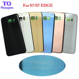 Wholesale Door Edges - 10pcs Back Glass Cover replacement For Samsung GALAXY S7 G930 S7 Edge G935 Rear Housing Battery Door Case Rear Adhesive parts with logo