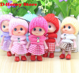 Wholesale Interactive Cartoons - Cute Kids Toys Soft Interactive Baby Dolls Toy Key Chain, Mini Doll Keychain For Girls Key Ring Key Holder Mobile Phone Straps