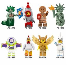 Wholesale Block Logos - 120pcs Mix Lot LOGO PUMP Minifig Medusa Rocket Boy Ginger Man Lady Liberty Buzz Lightyear Unicorn POGO PG8061 Mini Building Blocks Figures