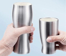 Wholesale Cold Coffees - 12piece lot 2016 Simple vacuum keep-warm cup hight quality 304 stainless steel hot and cold dual-use tea cups beer coffee mug 420ml