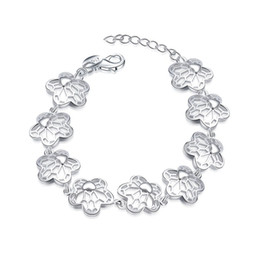 Wholesale Perfect Channel - Top Quality 925 Sterling Silver Plated Charm Chain Pierced Flowers Bracelet Fashion Jewelry For Ladies Perfect Gift Freeshipping