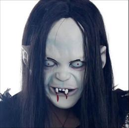 Wholesale Grudge Halloween Masks - Halloween Horror Long Hair Witch Full Face Latex Mask ghost mask mask grudge Sadako sleeve head Zombie mask black Terrorist Mask B032