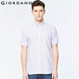 Wholesale Blouse Sleeve Shirt For Men - Wholesale- Giordano Men Shirt Oxford Short Sleeved Minceur Blouses for Man Button Down Collar Textured Shirts Social Masculina