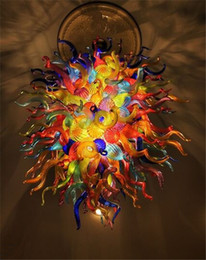 Wholesale Energy Glasses - Multi Colored Murano Glass Chandelier Unique Contemporary Glass Chandeliers for Restaurants Pop Ceiling Lights with High Quality