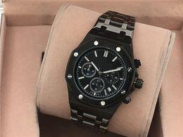 Wholesale Watches For Women Stopwatch - All Subdials Work AAA Mens or women Watches Steel Quartz Wristwatches Stopwatch Luxury Watch Top Brand relogies for men relojes Best Gift