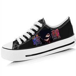 Wholesale Anime Boy One Piece - Wholesale-Cartoon Tokyo Ghoul Unisex Men Women Hand Painted Shoes Low Top Lace-Up Anime One Piece Boys Girls Graffiti Breathable Shoe