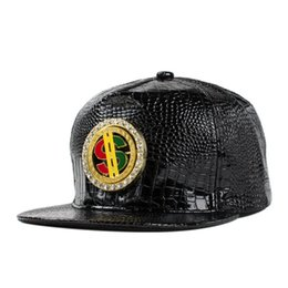 Wholesale Dollar Snapback - 5 Color Hip Hop Snapback Baseball PU Caps Unisex Sports Adjustable Dollars Bone Women Leather Hats Men gorras Caps Casual