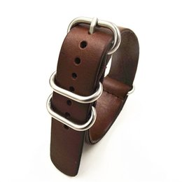 Wholesale Nato Leather Strap - Wholesale-1PCS High quality 18MM 20MM 22MM Nato strap genuine leather dark coffee color Watch band NATO straps zulu strap watch strap-0918