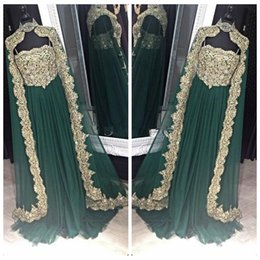 Wholesale Indian Chiffon Evening Gowns - 2017 New Fashion Style Hunter Green Moroccan Kaftan Arabic Chiffon Evening Dresses Prom Gown Bollywood Maxi Indian Lace Appliques Beaded