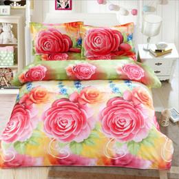 Ensembles de literie rouge jaune en Ligne-Roses rouges jaunes imprimées réactive taie d'oreiller drap de lit housse de couette pour 1,8 m lit, ensembles de literie 4pcs cadeau de literie