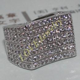 Wholesale Eternity Band Gold Diamond - Eternity 14K White Gold Filled Round Simulated Diamond CZ Pave Set Engagement Wedding Band Ring for Women