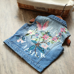 Wholesale Denim Lace Vest - Children embroidered Cardigan vest Sleeveless Coats Kids Blue Denim Waistcoat Outwear Girls Cute Lace Waistcoats