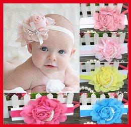 Wholesale Chiffon Rose Bows - 30PCS Stylish Baby Chiffon Pearl Beaded Headband Kids Rose Satin Bow Headdress Flower Infants Hairband Children Head Wear Photography Prop
