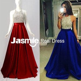 Wholesale Long Ruched Halter Gown - 2016 New Halter Beaded Long Prom Dresses A Line Backless Party Dresses Gold Silver Sequins Black Royal Blue Satin Evening Gowns Real Photos