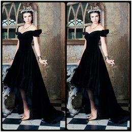 Wholesale Long Draping Hi Lo Gown Back - Vestido Longo Vintage Formal Party Dresses Black Velvet Short Front Long Back Women Gowns 2017 Evening Prom Dress Robe De Soiree