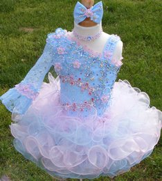 Wholesale One Shoulder Necklace - Cute 2016 Flower Girls Dresses One Long Sleeve Flowers Beads Necklace Bow Organza One Shoulder Colors Girls Party Dress Pageant Dress
