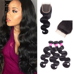 Wholesale Indian Hair Buns - Brazilian Body Wave Lace Closure 8A Unprocessed Human Hair Extensions 4''x4'' Free Part Lace Closure Natural Black Color With Body Wave Bun