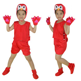Wholesale Bird Fancy Dress - 2018 Children Short Sleeved Animal Red Bird Costume Stage Perfromance Cosplay Clothes Halloween Birthday Fancy Dress Decor