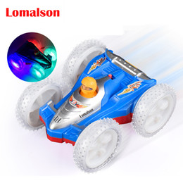 Wholesale big stunt - Big Wheels Electric double face stunt car rolling flip car with LED light musical toy Turn Over At Barrier Off-road Vehicle