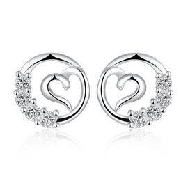 Wholesale Elegant Elements Wholesale - Elegant Fashion Plated Solid 925 Sterling Silver Women Crystal Rhinestone Ear Stud Earrings Heart Round SWA Elements Crystal Earring