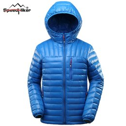 Wholesale Ykk Zipper Black - Wholesale- Speed Hiker Down Jacket Men 2016 Outwear Light Hooded YKK Zipper Parka Male,Top Quality Plus size 3XL Black,Navy Green K8015