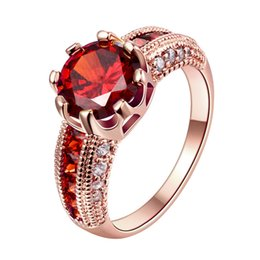 Wholesale 18k Ruby Diamond Rings - Fashion Red Ruby Gem Ring Rose Gold Plated Engagement Party Rings for Women Bijoux Femme Bagues with Zirconia Diamond Jewelry Wholesale